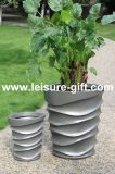 Fo-313 Fiberglass Planter with Gray Finish for Decoration