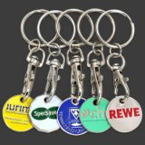 Promotional Wholesale Cheap Custom Metal Euro Coin Token Supermarket Shopping Cart Token Trolley Coin Holder Key Chain