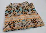 Women's Long Sleeve Printed/Solid Shirt Make of Polyester/Ealstane Mesh