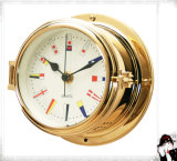 12 Hours Format Quartz Clock Signal Flag Dial 150mm Open Type Brass Case