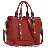 Fashionable Red Color Buckle Detail Tote Shoulder Bag