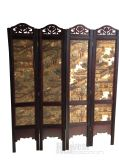 Vintage 4 Panels Folding Wooden Partition Room Dividers
