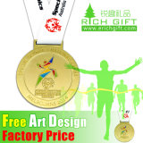 Custom Sport Marathon Running Coin Pin Medallion Gold Souvenir Zinc Alloy Silver Enamel Badge Award Metal Medal No Minimum