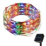 Solar Battery Copper Silver Wire String Christmas Fairy Lights Lamp