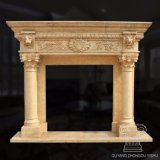 Decoration Yellow Granite Stone Carving Statue Marble Fireplace Mantel Sculpture