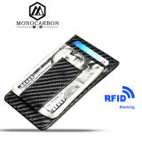 High Quality Carbon Fiber Pattern PU Leather RFID Blocking Card Holder