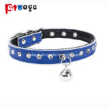 Pet Product Cat Leather Collar Crystal Clear Bells Pet Collar