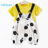 Baby Boys′ 2 Piece T-Shirt Suspender Shorts Clothing Set Summer Cool Garment to Children