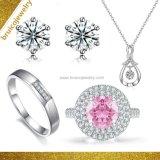Fashion Jewellery 925 Sterling Silver Rings Necklace Earring Set 9K 14K 18K Gold Diamond Jewelry for Wedding