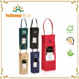 Custom Printed Non Woven Wine Bottle Carrier Gift Bags with Clear Window