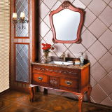 Traditional Rubber Solid Wood Mirror Bathroom Vanity Cabinet (OP13-062-118)