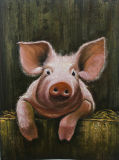 Animal Canvas Art Pink Pig Oil Paintings Farm Art Collection