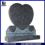 Three Heart Shaped Granite Headstone with Flower Design