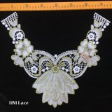 37*29cm Royal Floral Gold Embroidery Neckline Lace Trimming for Wedding Gown Hme922
