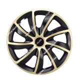 PP/ABS Black and Gold Car Wheel Hub Center Cover with Iron Ring