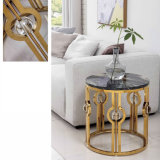 Home Furniture Living Room Restaurant Coffee Table Golden Metal Modern Furniture Sofa Corner Side Table