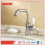 Classic Single Handle Brass Basin Water Tap, Antique Ceramic Handle Mixer Faucet