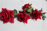 5 Heads Silk Red Rose Artificial Flowers for Wedding Decoration