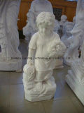 Western Style Boy Children Sculpture Marble Stone Baby Carving for Garden