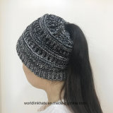 Blank Cc Beanie Jacquard Ponytail Knitted Hat