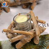 12cm Height Wholesale New Design Popular Customized Glass Candle Holder with Wooden Sleeve for Home Party Decoration