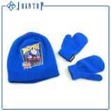 Customized Fashion Man Hat Scarf Glove Set with Blue Design