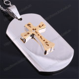 Stainless Steel Dog Tag Pendant with Cross and Prayer (IO-st252)