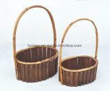 Handmade Wooden Garden Plant Vase with Handle