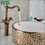 Flg Basin Faucet Brass Antique Double Handle Deck Mounted