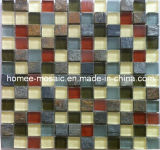 Stone Mosaic Mixed with Glass Mosaic Tile for Wall Use