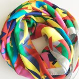 Lady Fashion Screen Print Silk Scarf (SC017)