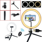 10-Inch Selfie Ring Light with Bluetooth Remote and Smart-Phone Holder Desk Night