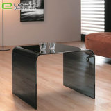 Cheap Curved Grey Color Glass Sofa Side Table Price