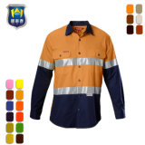Hi-Vis Reflective Workwear 2 Tone Cotton Drill Work Shirt