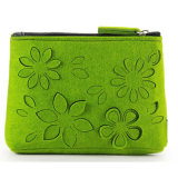 Wholesale 3mm Marino Wool Felt Cosmetic Bags with Flower Pattern