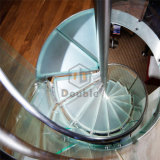 Glass Step with Glass Railing Spiral Staircase for Indoor