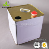 10L Customized Square Tin Can Chemical Can with Press Cap and Plastic Handle