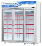 Supermarket Multi Swing Glass Door Upright Freezer for Cheese, Ice Cream Display