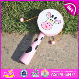 2015 Promotional Pink Shake Rattles Toys, Educational Toy Cow Face Drum Rattle, Hot Sale Model Drum-Shaped Rattle for Kids W07g006