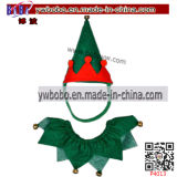 Elf Pet Set Elf Costume Pets Hat Collar Christmas Party Gift Present Wholesale (P4013)