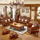 Optional Color Royal Wood Leather Sofa From Foshan Furniture Factory