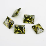 Factory Price Synthetic Cemstone Emerald Cut Olivine CZ for Wedding Decorations