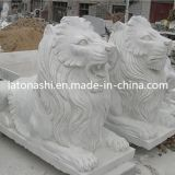 White Marble Carving Stone Lions Statue / Sculpture for Outdoor Garden