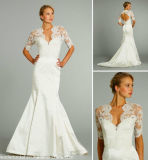 Beach Garden Country Lace Bridal Formal Gown 1/2 Sleeves Wedding Dress W1471947