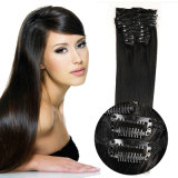 China Cheap Factory Wholesale Remy Indian Virgin Clip in Hair Extensions