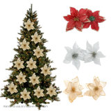 Red Glitter Flower Christmas Tree Ornaments Home Decor Party Supplies