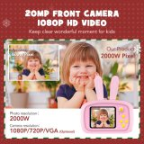 Christmas Gift 2.0 Inch HD Cute Animal Kids Camera, Video Recording Built-in Games Digital Camera