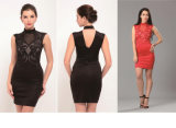 Plus Size S-XXL Mesh Patchwork Bodycon Dress Sexy Clubwear Black Sequin Vintage Party Dresses Printed Bandage Dress