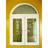 Double Glazed Top Arched White Profile UPVC Casement Window