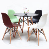 Commercial Home Furniture White Plastic Set Dining Table with Metal Legs